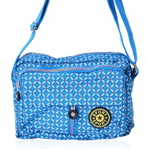 Blue Colour Diamond Pattern Waterproof Sports Bag with External Zipper Pocket and Adjustable Shoulder Strap (Size 22X16X6 Cm)