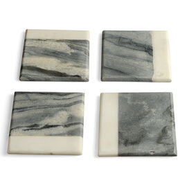 Home Decor - Stylish Set of 4 Natural Marble Coasters in Grey and White Colour (Size 10X10X1 Cm)
