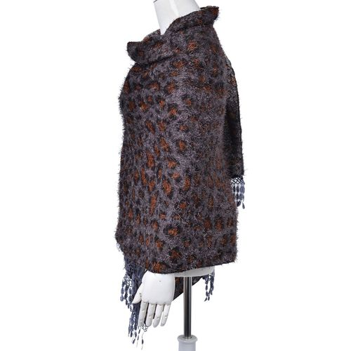 Leopard Pattern Black, Chocolate and Grey Colour Scarf with Fringes (Size 180x70 Cm)