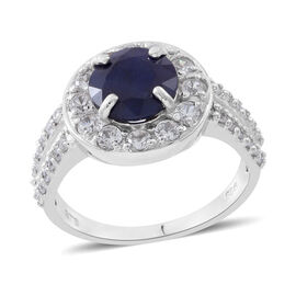 Masoala Sapphire (Rnd 3.25 Ct), Natural White Cambodian Zircon Ring in Rhodium Plated Sterling Silver 5.250 Ct.