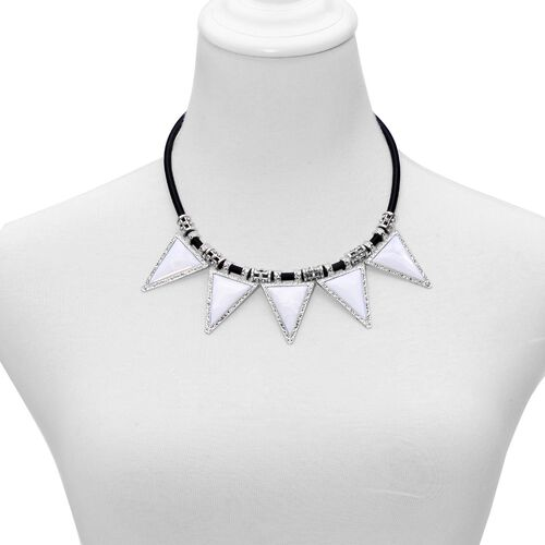White Shell Necklace (Size 18) in Silver Tone