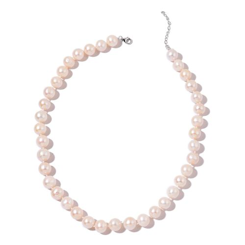 Exclusive Edition - Fresh Water White Pearl Necklace (Size 18 with 2 inch Extender) in Rhodium Plated Sterling Silver