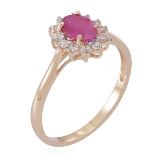 9K Y Gold Burmese Ruby (Ovl 0.90 Ct), Natural Cambodian White Zircon Ring 1.500 Ct.