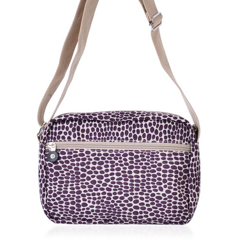 Cream and Purple Colour Dots Pattern Waterproof Sport Bag with External Zipper Pocket and Adjustable Shoulder Strap ( Size: 21.5 x 7x17cm)