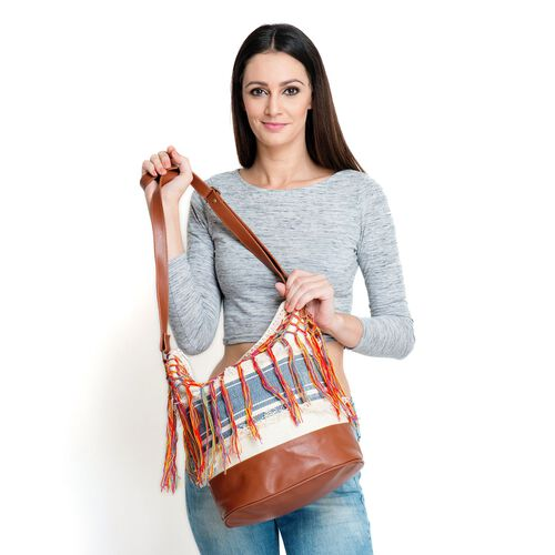 Blue, Off White and Chocolate Colour Cotton Bucket Bag with Multi Colour Tassel and Adjustable Shoulder Strap (Size 35x35x16 Cm)