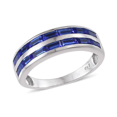 Crystal from Swarovski - Sapphire Colour Crystal (Bgt) Ring in ION Plated Platinum Bond