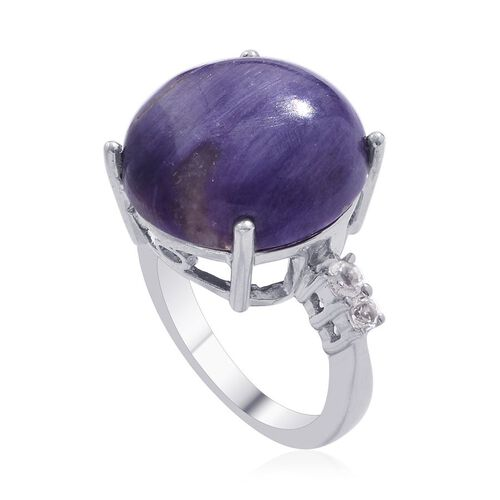 Russian Charoite (Rnd 14.50 Ct), White Topaz Ring in Platinum Overlay Sterling Silver 14.750 Ct.