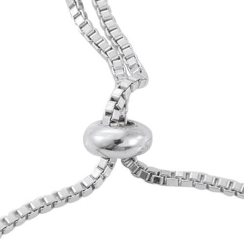 Black Diamond (Rnd) Adjustable Bracelet (Size 6.5 to 8 Inch) in Platinum Overlay Sterling Silver 1.000 Ct.