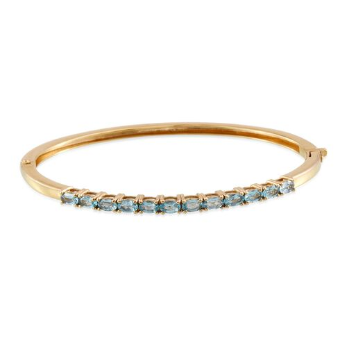 Paraibe Apatite (Ovl) Bangle (Size 7.5) in ION Plated 18K Yellow Gold Bond 2.750 Ct.