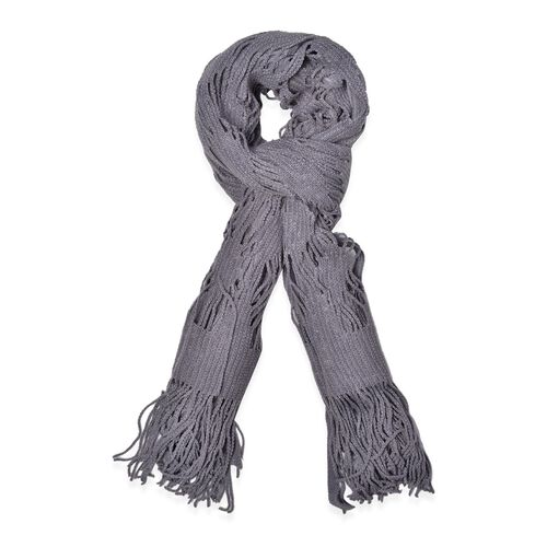 Grey Colour Lace Scarf with Long Tassels (Size 150x50 Cm)
