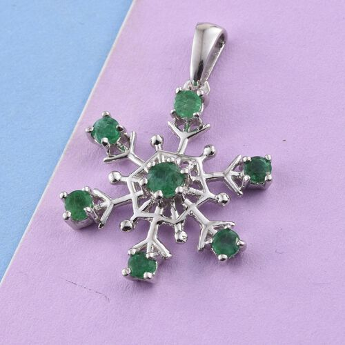 Kagem Zambian Emerald 0.75 Ct Silver Snowflake Pendant in Platinum Overlay