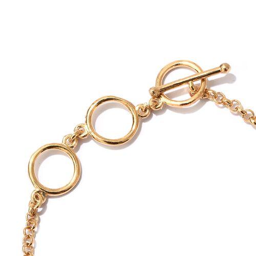 Designer Inspired- BRIOLITTE CUT Boi Ploi Black Spinel (Rnd) Bracelet (Size 7.5) in 14K Gold Overlay Sterling Silver 5.750 Ct.