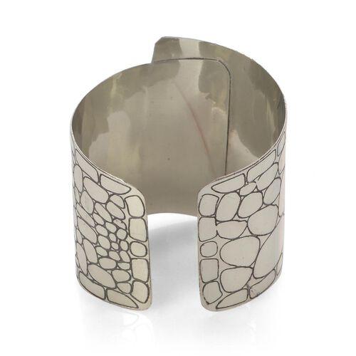 Jewels of India Handicraft Wide Cuff in Silvertone