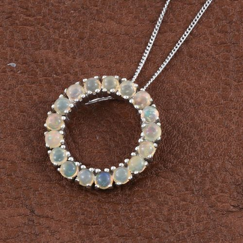Ethiopian Welo Opal (Rnd) Circle of Life Pendant With Chain in Platinum Overlay Sterling Silver 1.250 Ct.