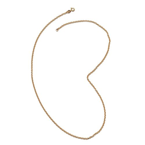 One Time Deal - Yellow Gold Overlay Sterling Silver Rolo Chain (Size 20), Silver wt. 5.23 Gms.