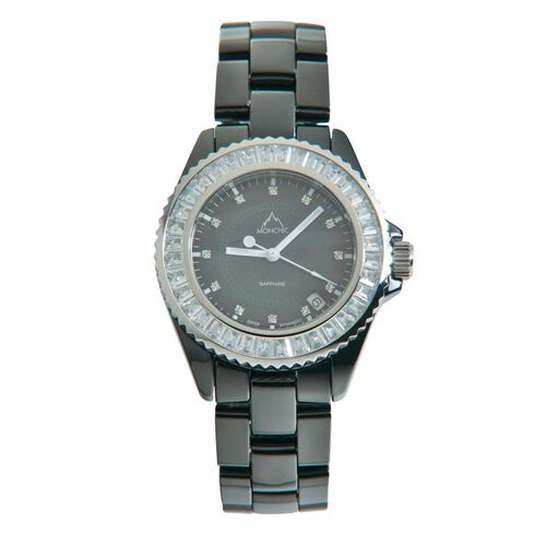 One Time Deal - MONCHIC Sapphire Glass, Swarovski Crystal and Diamond Black Ceramic Swiss Movement Watch