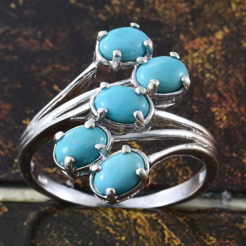 Arizona Sleeping Beauty Turquoise (Ovl) 5 Stone Ring in Platinum Overlay Sterling Silver 2.000 Ct.