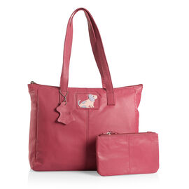 100% Genuine Leather Raspberry Colour Dog Logo Tote Bag (Size 38x33x26x11 Cm) with External Zipper Pocket and RFID Blocker Pouch (Size 20x13 Cm)