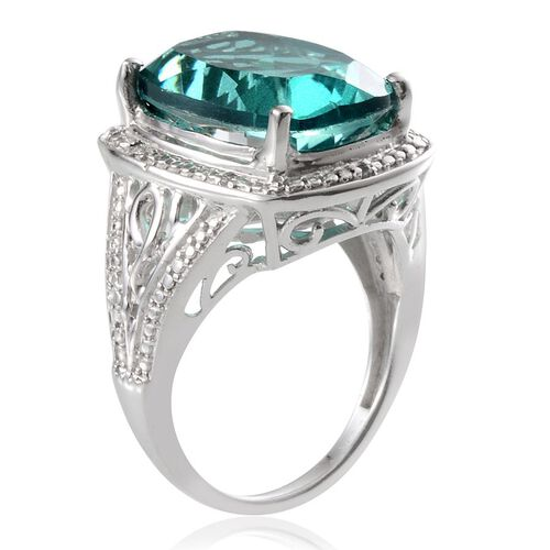 Paraiba Tourmaline Colour Quartz (Cush 11.25 Ct), Diamond Ring in Platinum Overlay Sterling Silver 11.280 Ct.