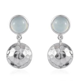 Aqua Chalcedony (Rnd) Earrings (with Push Back) in Platinum Overlay Sterling Silver 2.750 Ct.