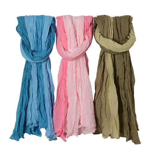 Set of 3 - 100% Cotton Pink, Blue and Army Green Colour Scarf (Size 175x110 Cm)