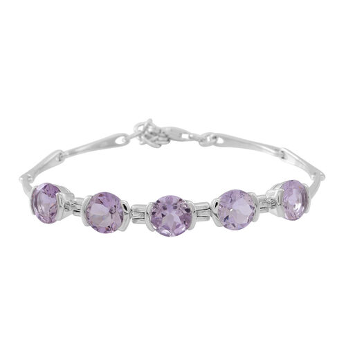 Rose De France Amethyst (Rnd) Bracelet (Size 7.5 with 1 inch Extender) in Rhodium Plated Sterling Silver 8.750 Ct.