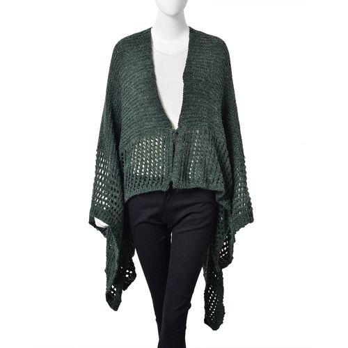 Green Colour Crochet Pattern Knitted Kimono (Size 130X58 Cm)