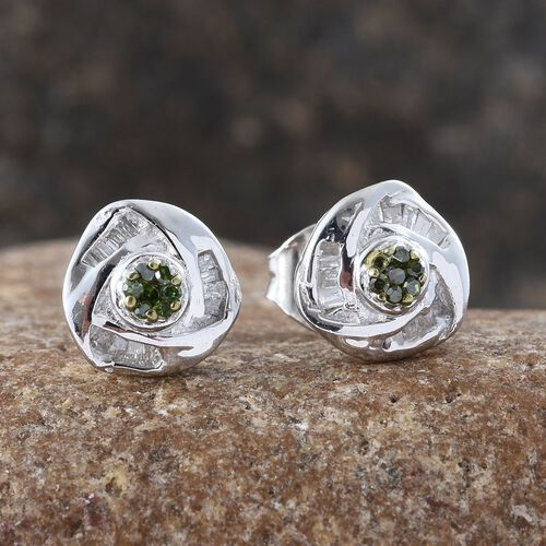 Green Diamond (Rnd), White Diamond Knot Stud Earrings (with Push Back) in Platinum Overlay Sterling Silver 0.150 Ct.