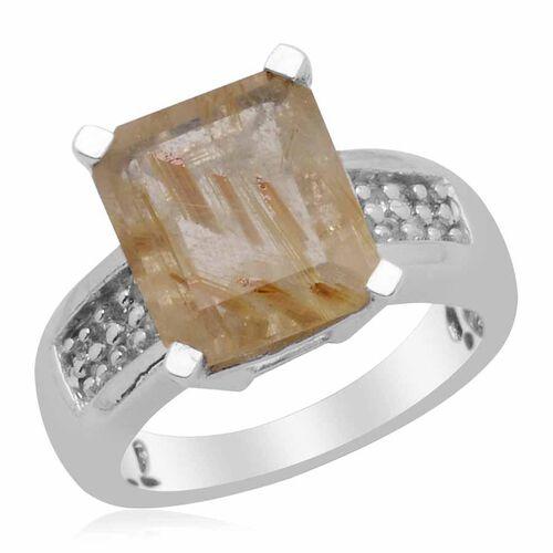 Aurelia Rutilated Quartz (Oct 4.00 Ct), White Topaz Ring in Platinum Overlay Sterling Silver 4.250 Ct.