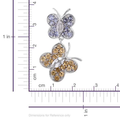 GP Tanzanite (Rnd), Citrine, Russian Diopside, Rhodolite Garnet and Kanchanaburi Blue Sapphire Butterfly Earrings (with Push Back) in Platinum Overlay Sterling Silver 4.250 Ct.