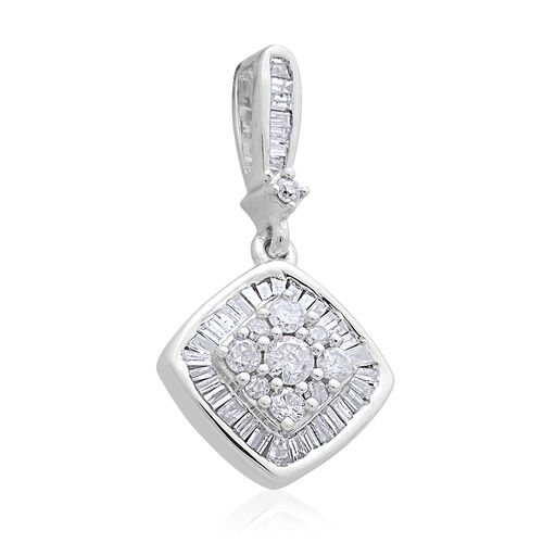 9K White Gold SGL Certified Diamond (Rnd) (I3 G-H) Cluster Pendant 0.500 Ct.