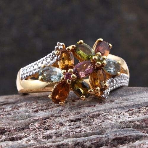 Rainbow Tourmaline (Ovl), Diamond Twin Floral Ring in 14K Gold Overlay Sterling Silver 2.010 Ct.