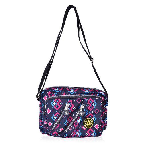 Designer Inspired- Black, Pink and Multi Colour Geometric Pattern Multi Pocket Waterproof Sport Bag with Adjustable Shoulder Strap (Size 22.5X16.5X6 Cm)