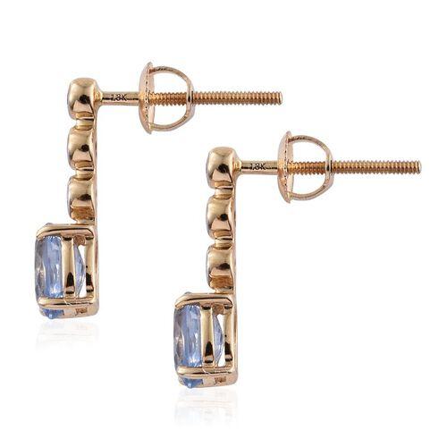 ILIANA 18K Yellow Gold AAA Ceylon Blue Sapphire (Ovl), Diamond (SI/G-H) Earrings (with Screw Back) 1.250 Ct.