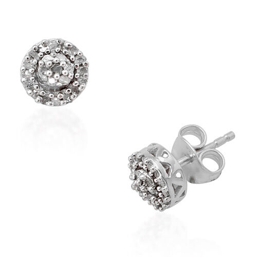 Diamond (Rnd) Stud Earrings in Platinum Overlay Sterling Silver 0.255 Ct.
