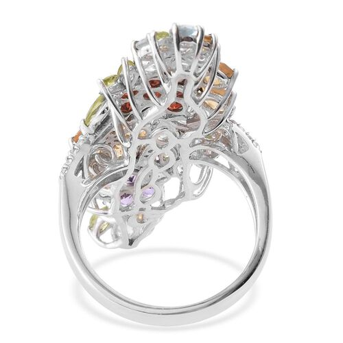 GP Amethyst (Rnd), Citrine, Mozambiqe Garnet, Sky Blue Topaz and Multi GemStone Floral Ring in Platinum Overlay Sterling Silver 6.020 Ct.