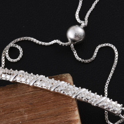 Diamond (Rnd) Adjustable Bracelet (Size 6.5 to 8) in Sterling Silver