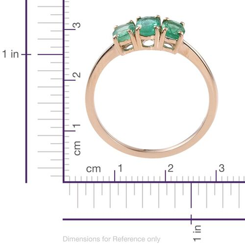 9K Y Gold Boyaca Colombian Emerald (Ovl) 3 Stone Ring 1.000 Ct.