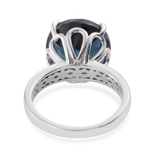 Indicolite Quartz (Rnd) Ring in Platinum Overlay Sterling Silver 11.000 Ct.