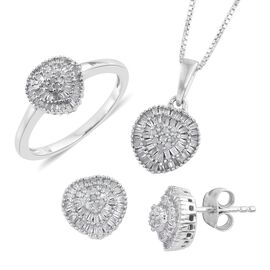 Set of 3 - Diamond Ring, Earrings and Pendant with The Chain (Size 20) in Platinum Overlay Sterling Silver 1.000 Ct.