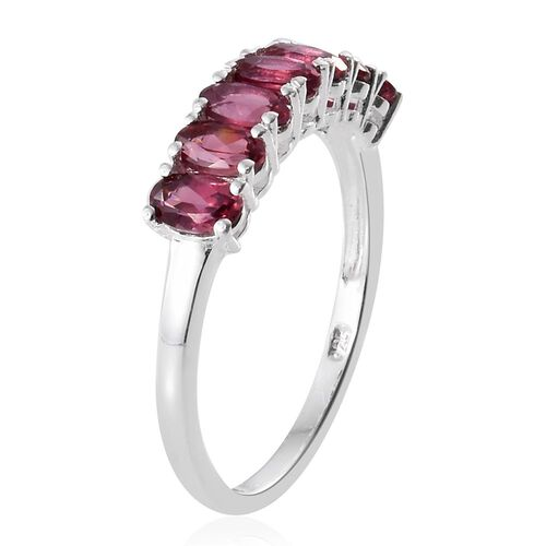 Rhodolite Garnet (Ovl) 7 Stone Ring in Sterling Silver 2.000 Ct.