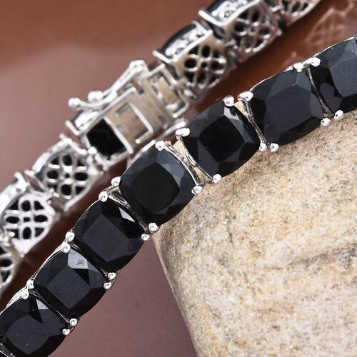 Black Tourmaline (Cush) Bracelet (Size 8) in Platinum Overlay Sterling Silver 58.000 Ct.