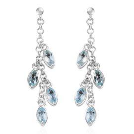 Sky Blue Topaz (Mrq) Dangle Earrings (with Push Back) in Sterling Silver 2.250 Ct. Silver wt 4.44 Gms.