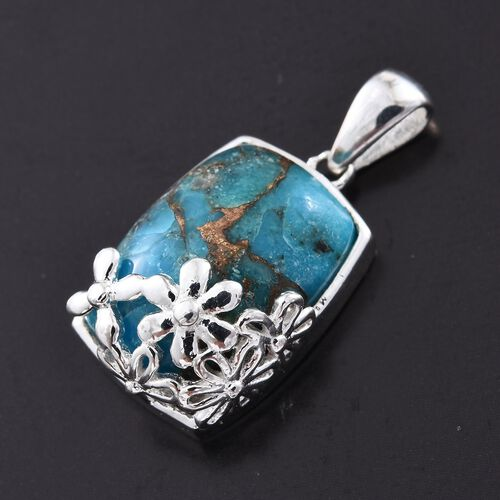 One Time Close Out Deal- Mohave Blue Turquoise (Cush) Pendant in Sterling Silver 7.000 Ct.