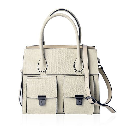 Sienna Cream Genuine Leather Croc Embossed Tote Bag with External Zipper and Flip Pockets with Adjustable and Removable Shoulder Strap (Size 28x25.5x12 Cm)