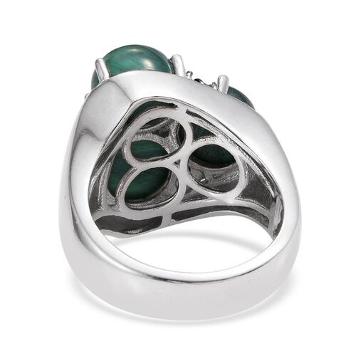 Malachite (Rnd), Green Diamond Ring in ION Plated Platinum Bond 10.000 Ct.