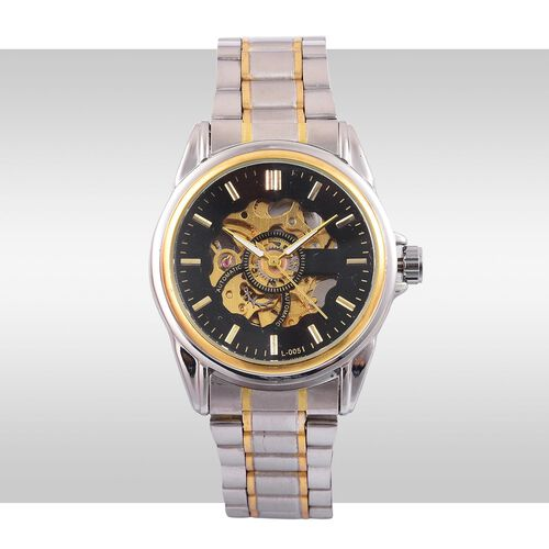GENOA Automatic Skeleton Black and Golden Colour Dial with Pink Austrian Crystal Water Resistant Watch in Yellow Gold Tone With Chain Strap
