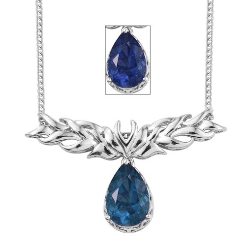 Colour Change Fluorite (Pear) Necklace (Size 20) in Platinum Overlay Sterling Silver 6.750 Ct.