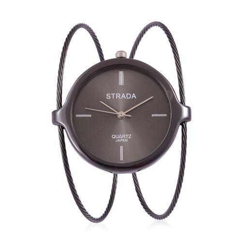STRADA Japanese Movement Black Colour Dial Water Resistant Bangle Watch in Black Tone with Stainless Steel Back