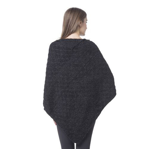Designer Inspired Knitted Black Flap Collar Cape (One Size)